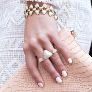 Kendra Scott Rachel Double Ring in White/Gold